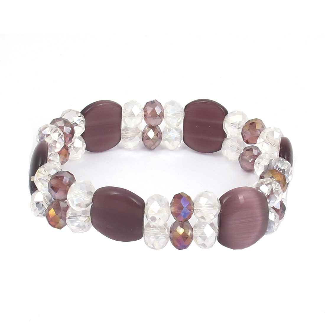 Faceted Faux Crystal Opal Beads Decor Elastic Wrist Bangle Bracelet Purple Clear for Lady