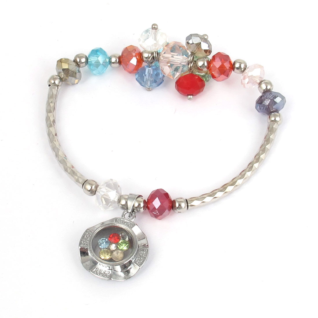 Plastic Faux Faceted Crystal Beads Lucky Pendant Elastic Wrist Ornament Bangle Bracelet Multicolor