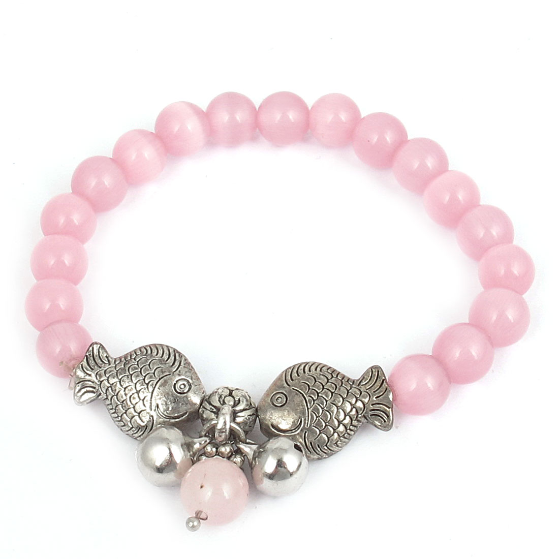 Fish Detail Round Opal Bead Wrist Ornament Bangle Bracelet Pink Silver Tone for Women