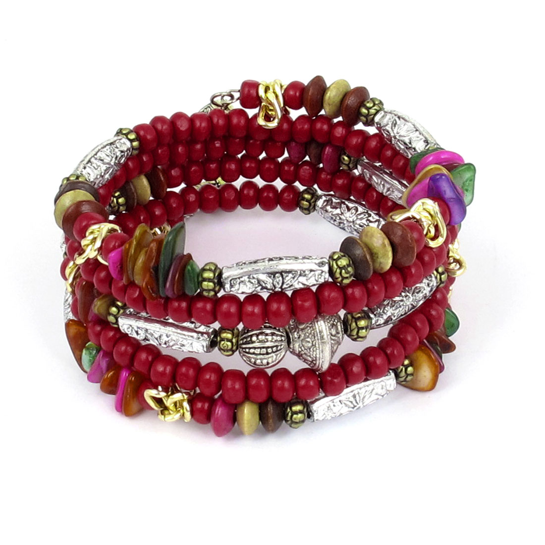 Lady National Style Handmade Wooden Beads Multi-layer Wrist Bangle Bracelet Red