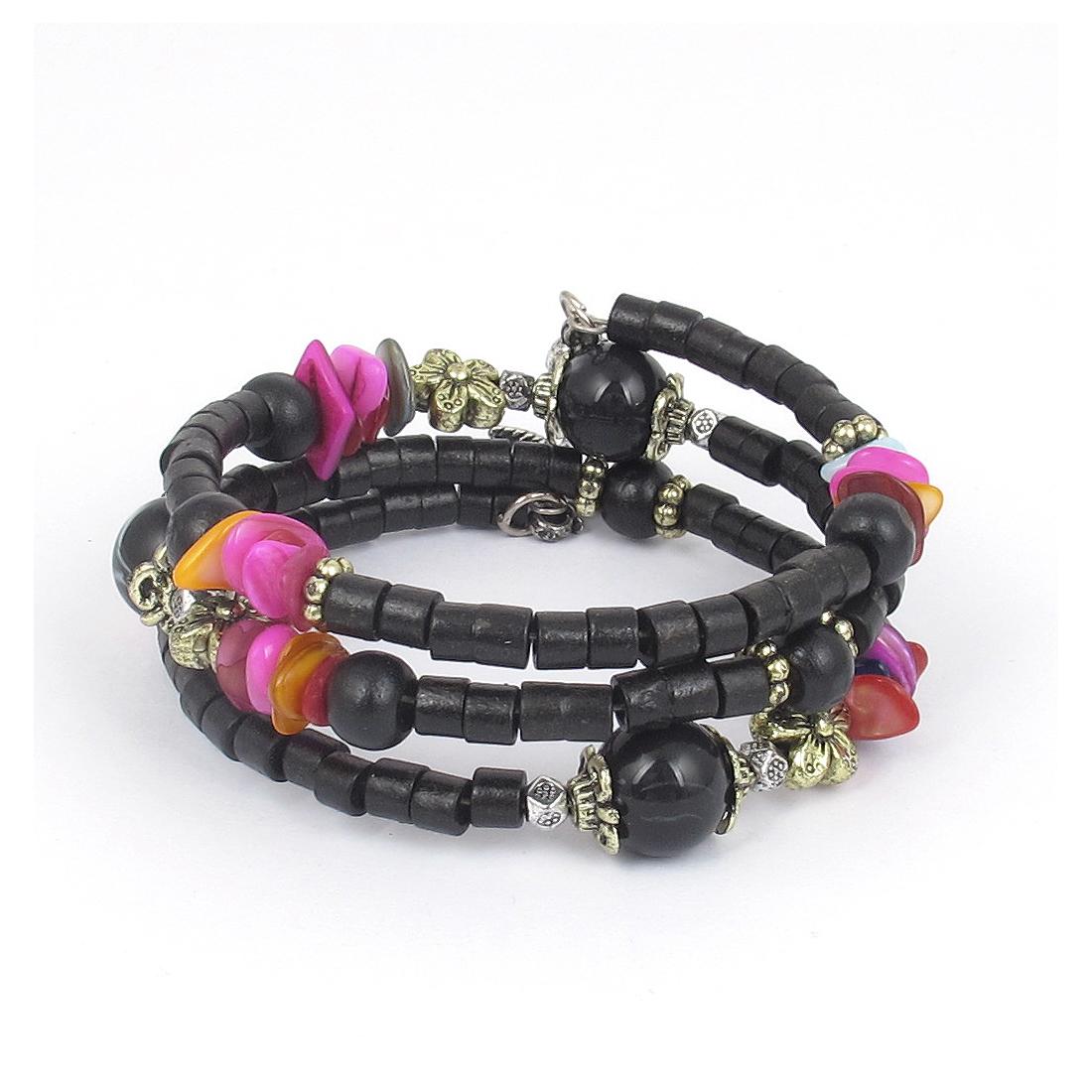 Women Handmade National Style Wooden Cylinder Beads Flower Decor 3-layer Bangle Bracelet Black