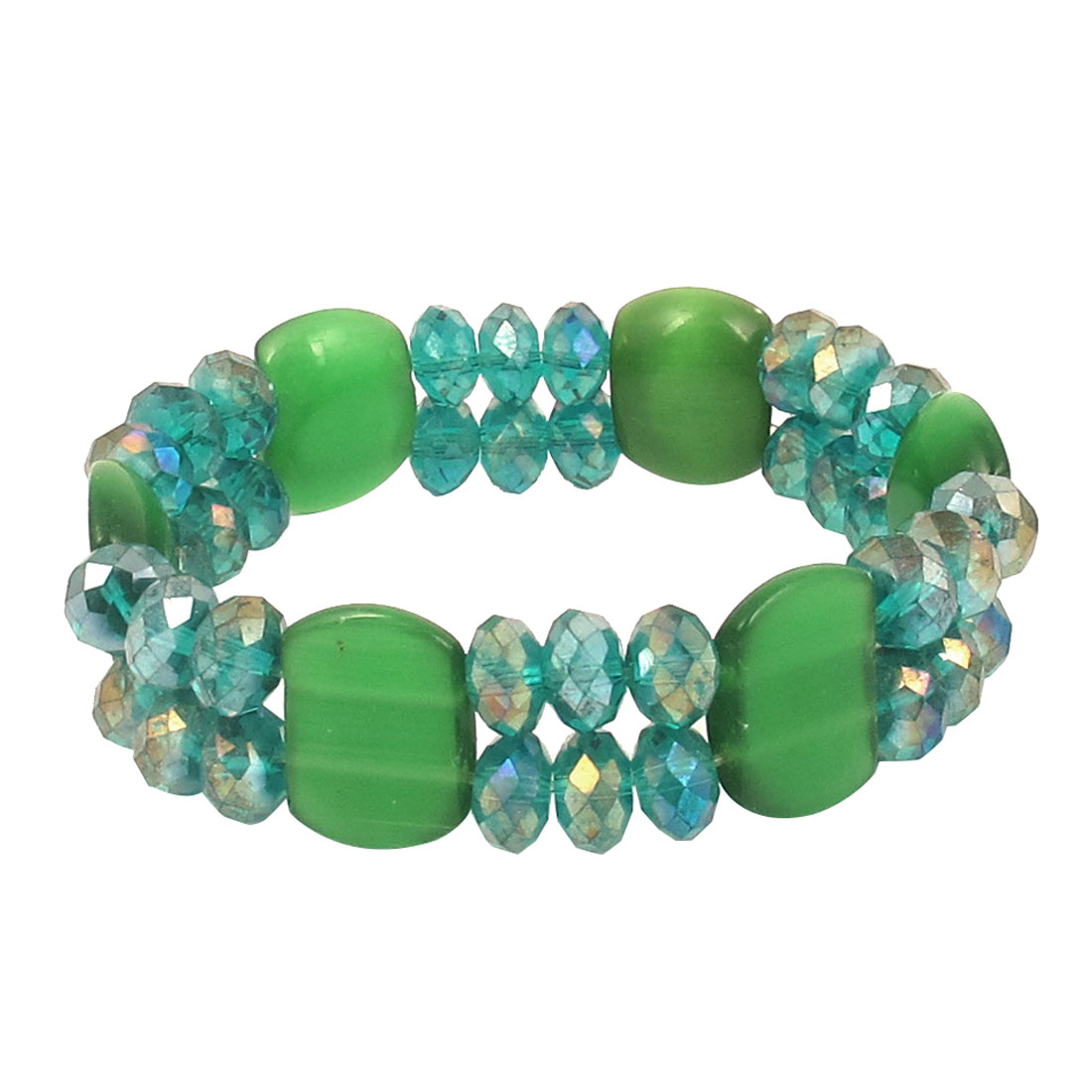 Faceted Faux Crystal Opal Beads Decor Elastic Wrist Bangle Bracelet Green Teal for Lady