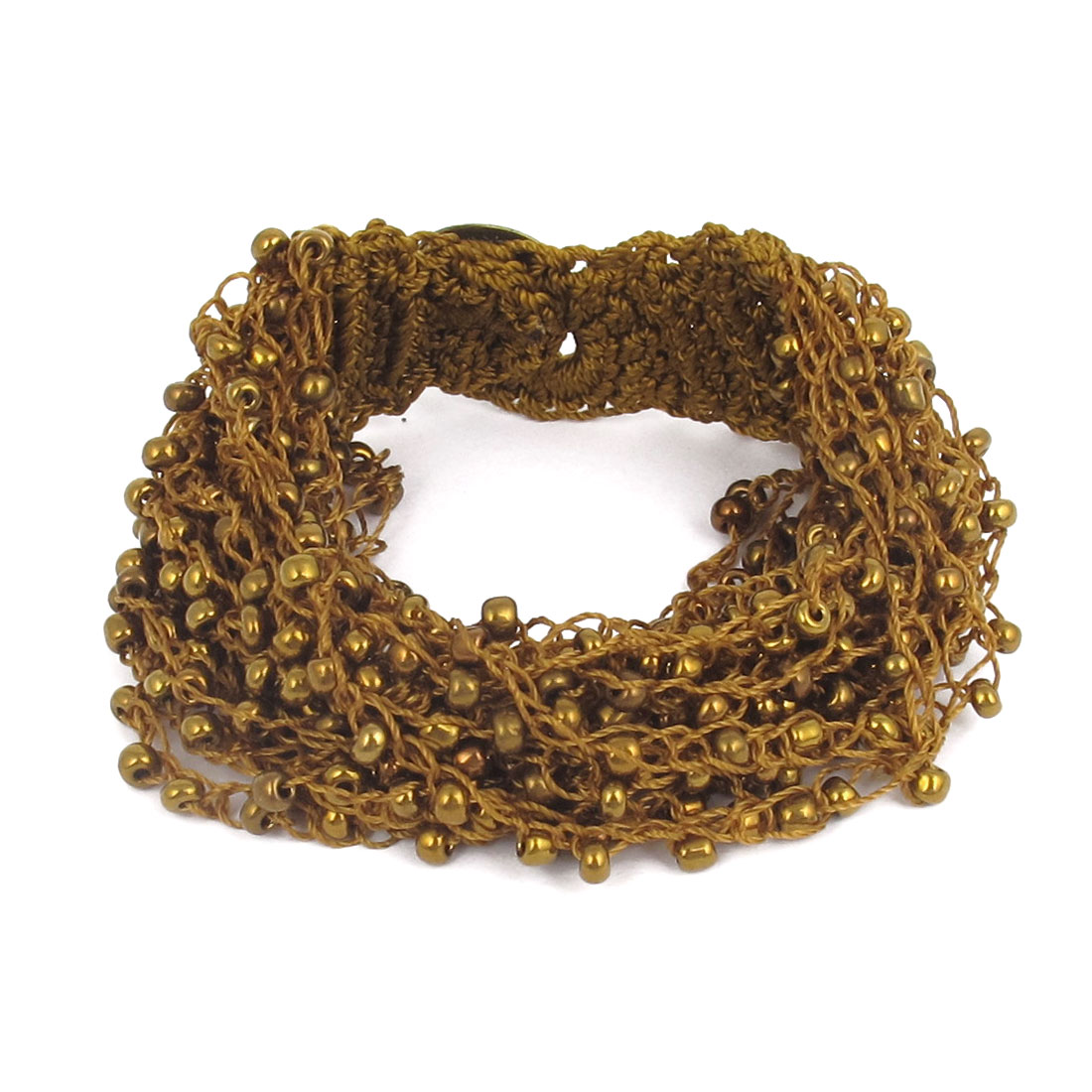 Women National Style Plastic Beaded Multi-layer Buttoned Bangle Bracelet Bronze Tone