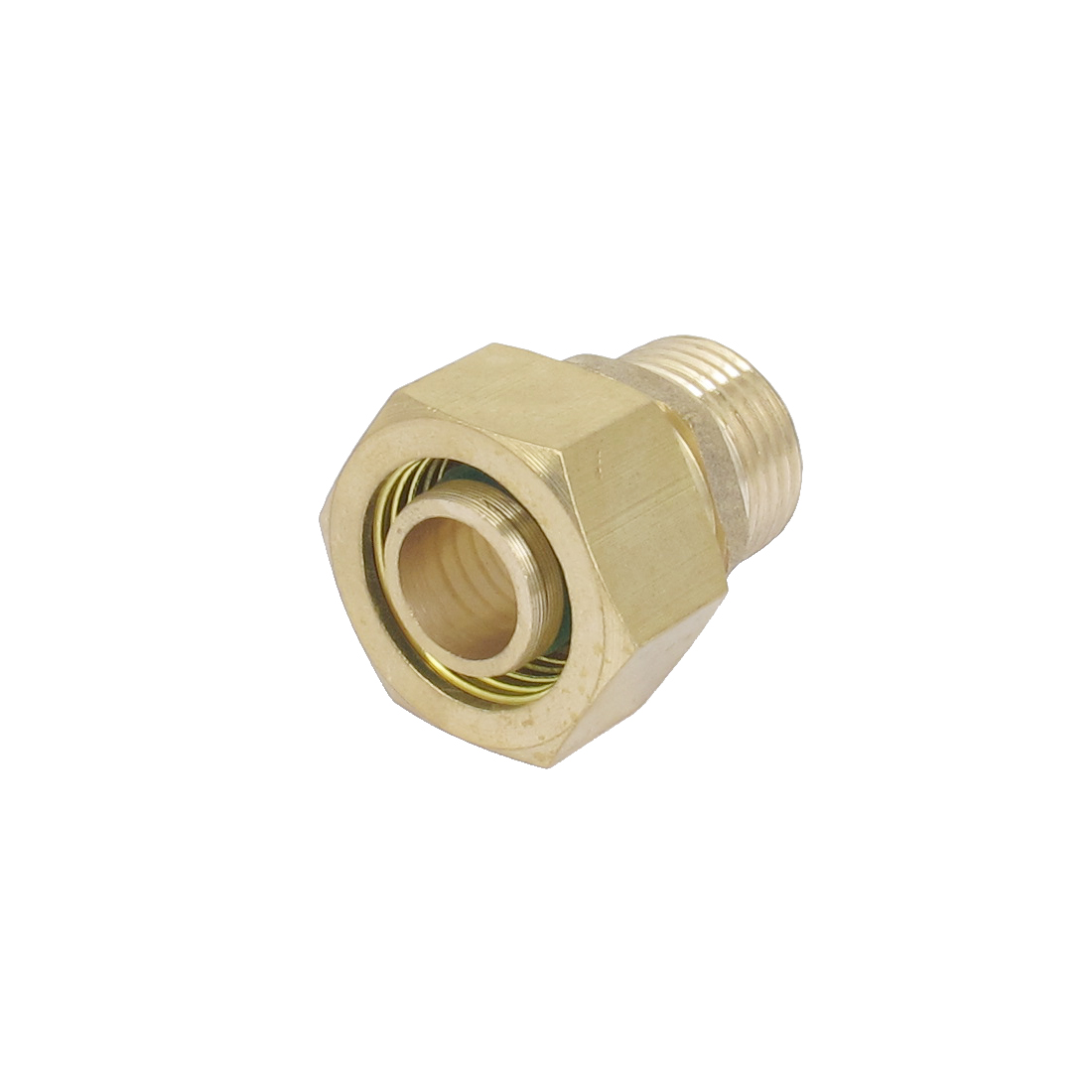 16mm x 20mm Male Thread Brass Hex Nipple Connector Couplers Gold Tone