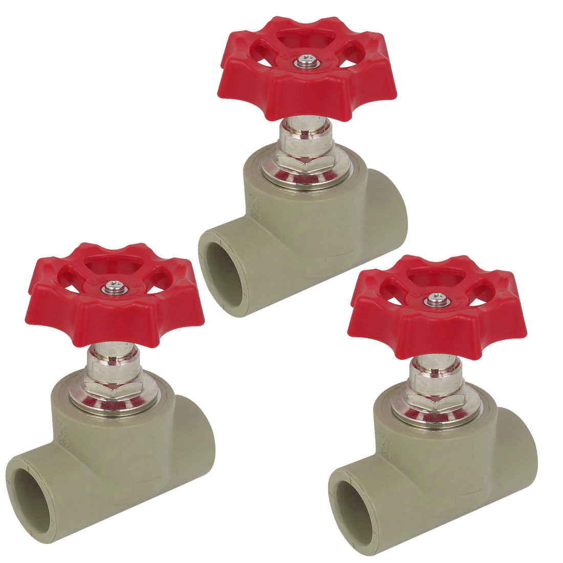 Water Supply 25mm to 25mm Double Way Red Handle PPR Gate Valve 3 PCS