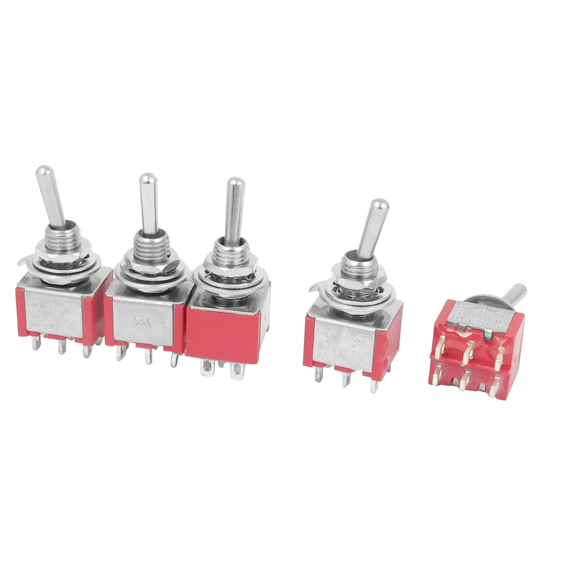 AC 250V 2A AC 120V 5A Road Car 6 Terminal Momentary Toggle Switch 5PCS