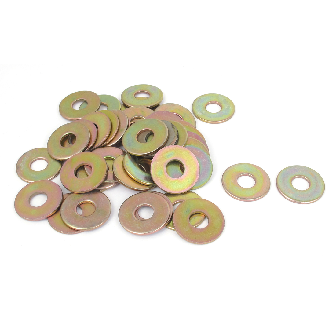 40Pcs M10x28mmx2mm Gold Tone Metric Round Flat Washer for Bolt Screw