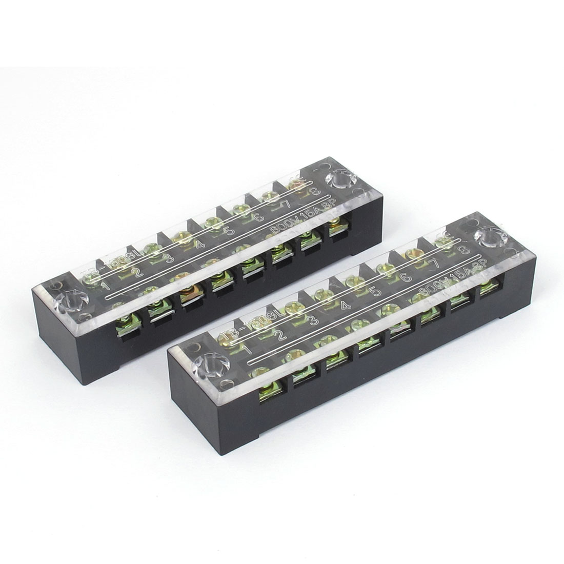 2Pcs 600V 15A Dual Row 8 Positions Screw Electric Wire Connection Barrier Terminal Strip