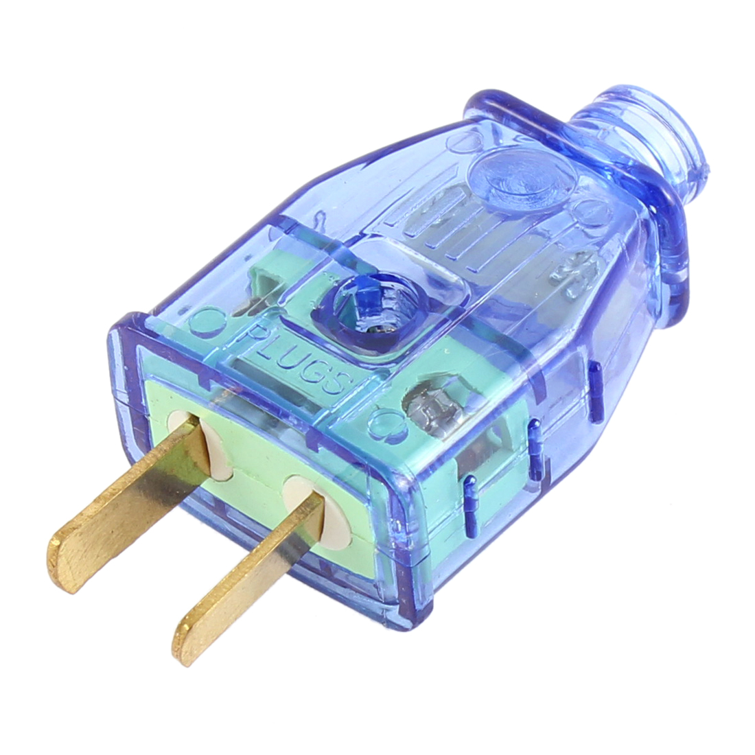AC 250V 16A AU US 2 Pin Rotation Power Plug Adapter Connector Clear Blue