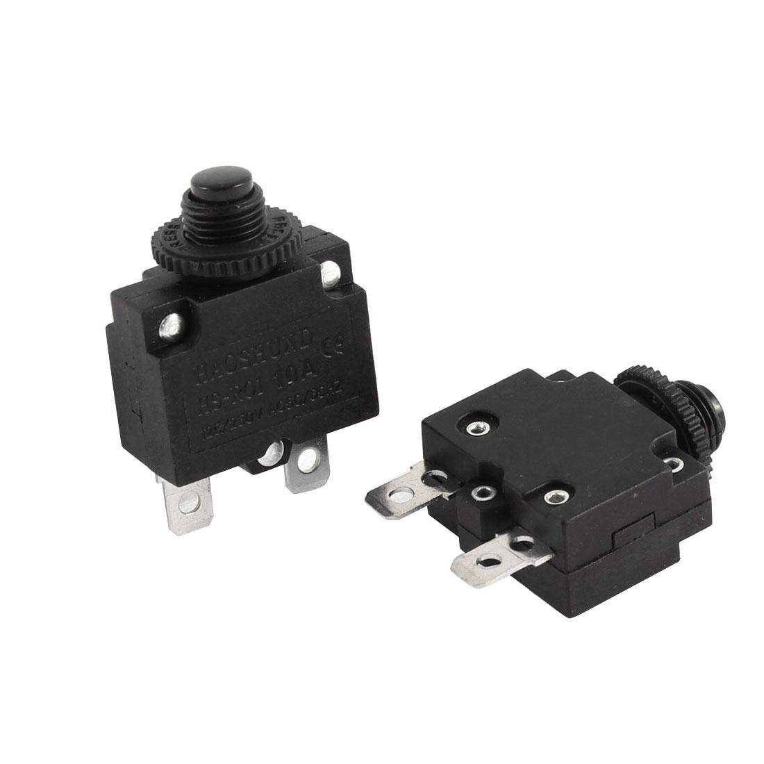 2 Pcs Air Compressor Circuit Breaker Overload Protector Black AC 125V/250V 10A