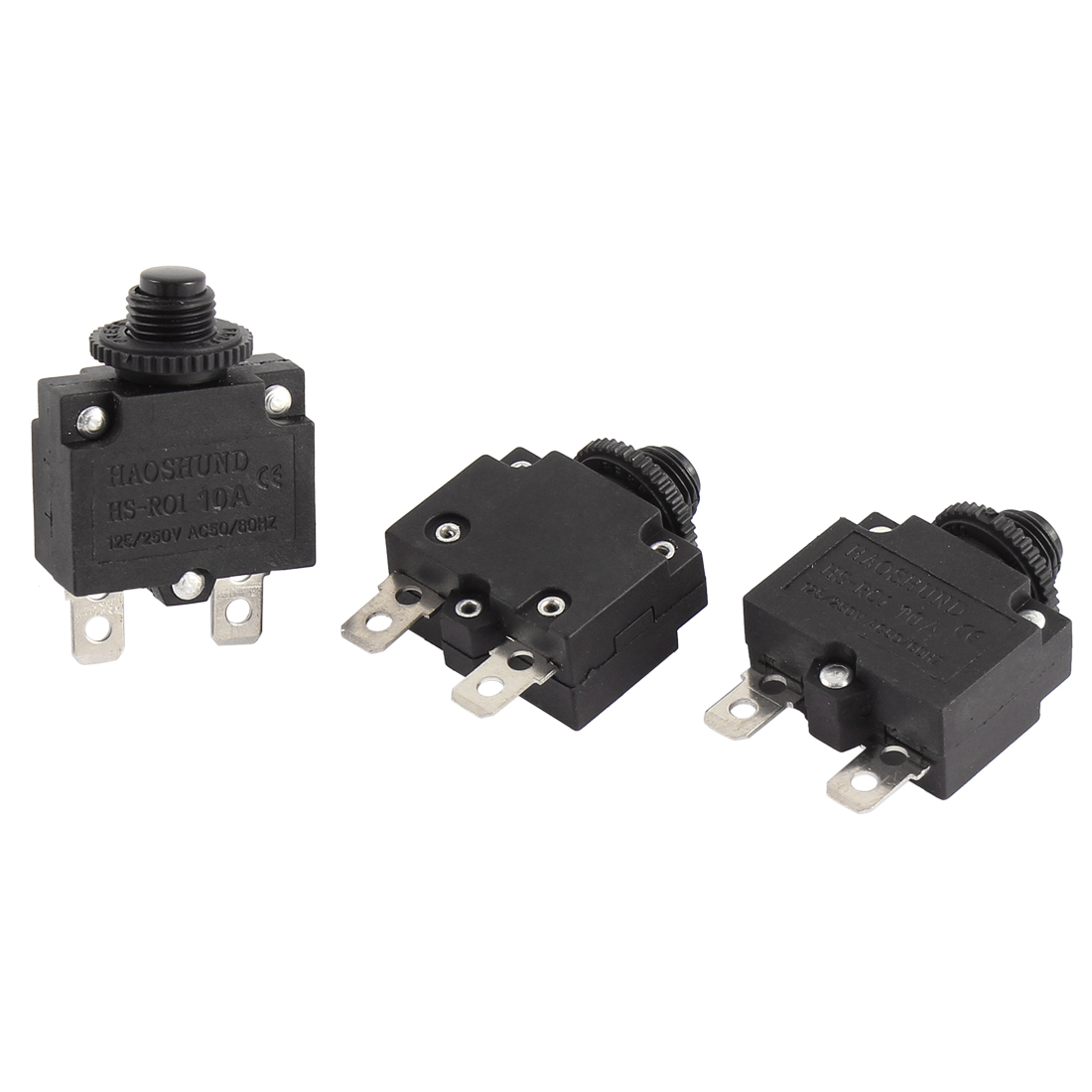 3 Pcs Air Compressor Circuit Breaker Overload Protector Black AC 125V/250V 10A