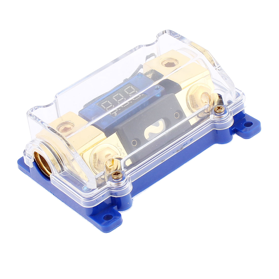 Clear Plastic Shell Digit Display Inline AGU Fuse Holder for Automobile