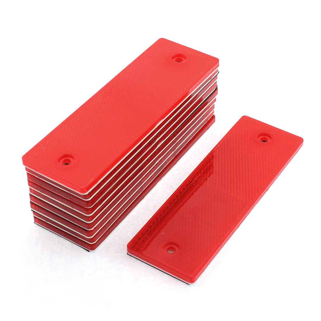 10 Pcs Red Plastic Rectangular Stick-on Car Reflector Reflective Sticker Decor
