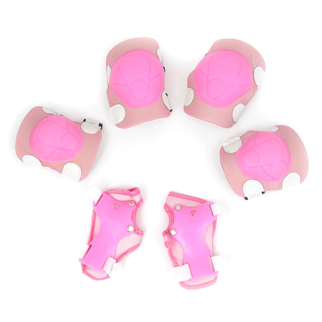 Outdoor Sports Skiing Skating Palm Elbow Knee Support Guard Protective Pad Set Pink 6 in 1