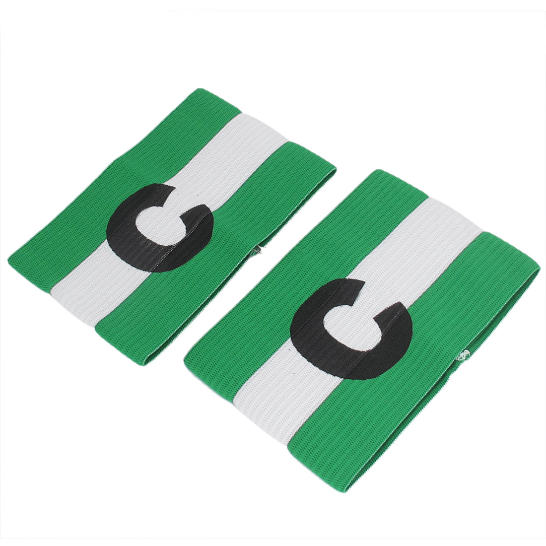 2pcs Green Blue C Printed Stretchy Football Soccer Sports Match Captain Armband Badge