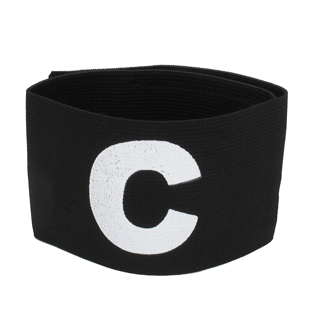 Hook Loop Closure Stretchy C Printed Team Soccer Sports Match Captain Armband Sleeve Black