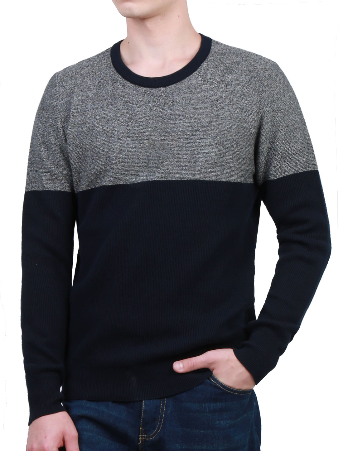 Men Crew Neck Pullover Contrast Color Panel Design Knit Top Blue L