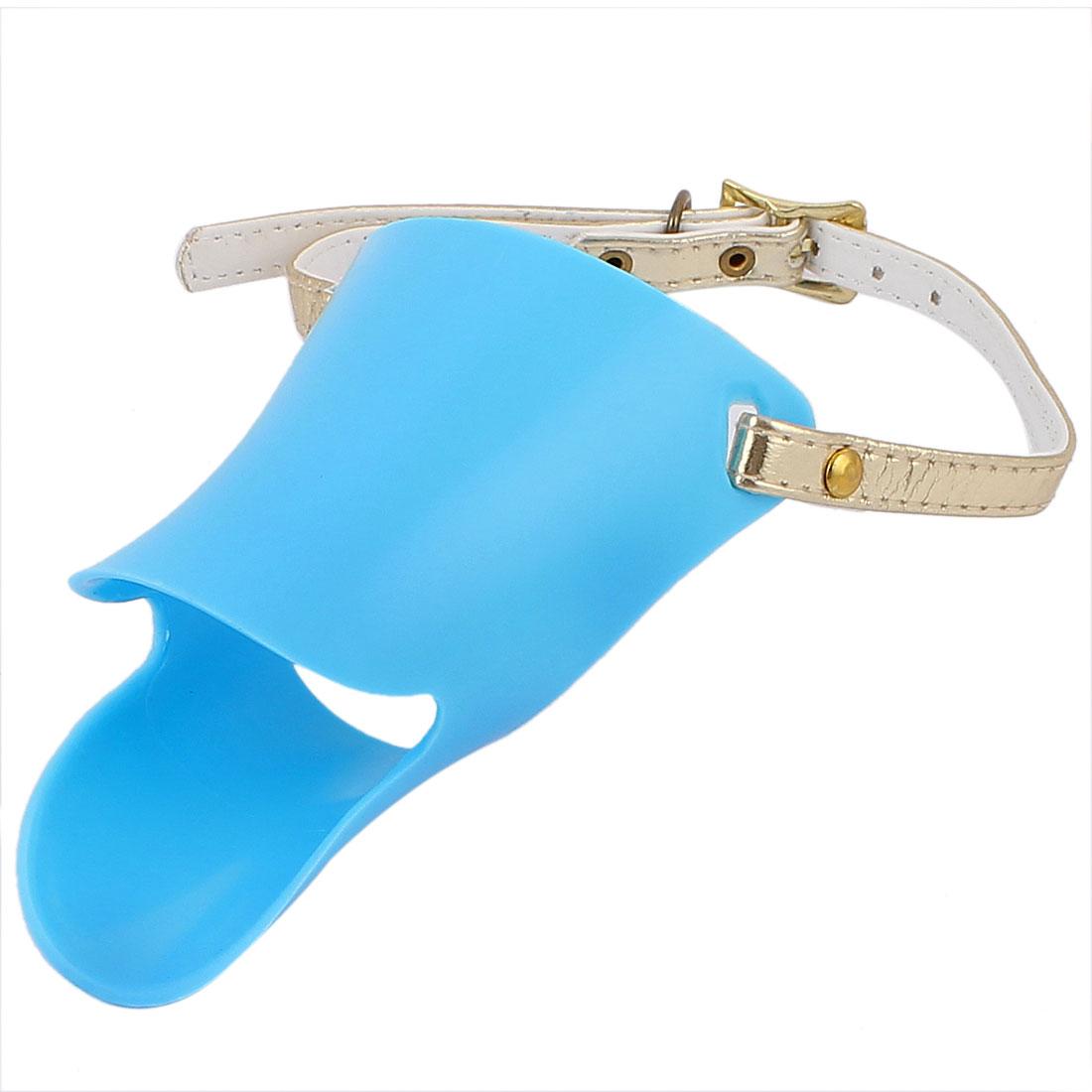 Adjustable Strap Plastic Pet Dog Puppy Mouth Mask Muzzle Cover Guard Blue