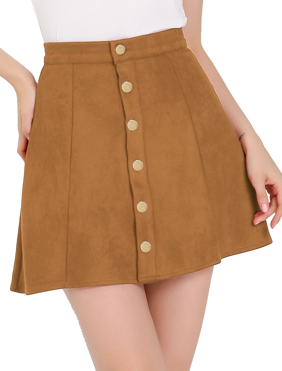 Ladies Button Closed Front Mid Rise Mini A-Line Skirt Yellow L