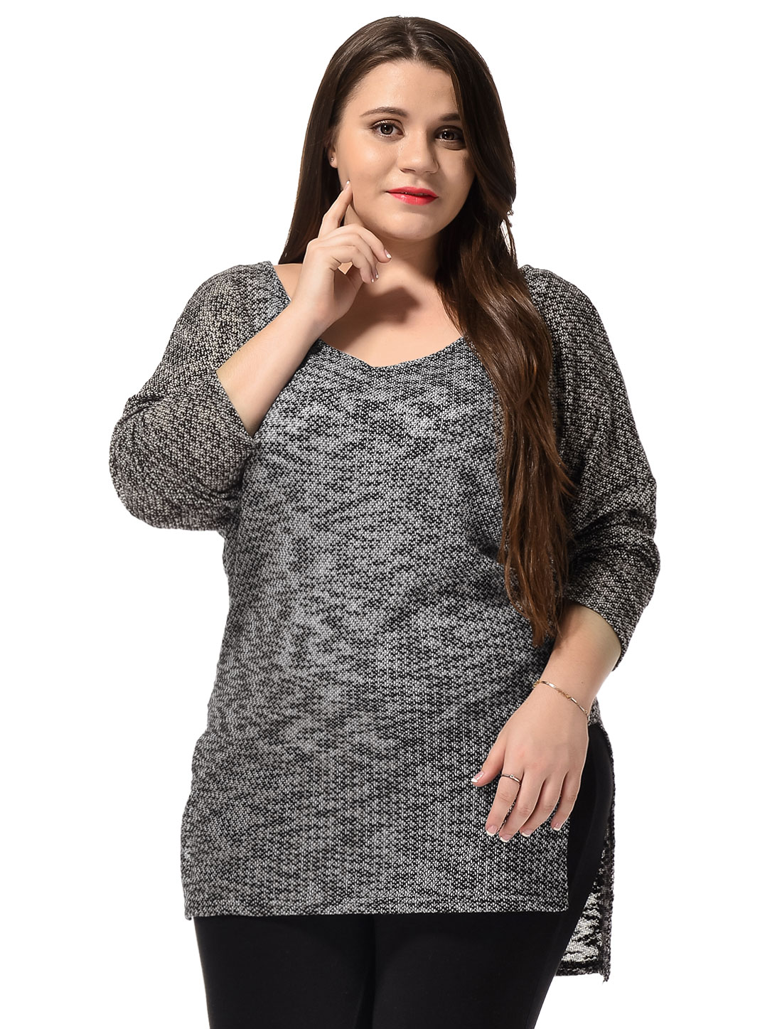 Women Plus Size Scoop Neck Lightweight Hi-Low Hem Knit Tops Gray 3X