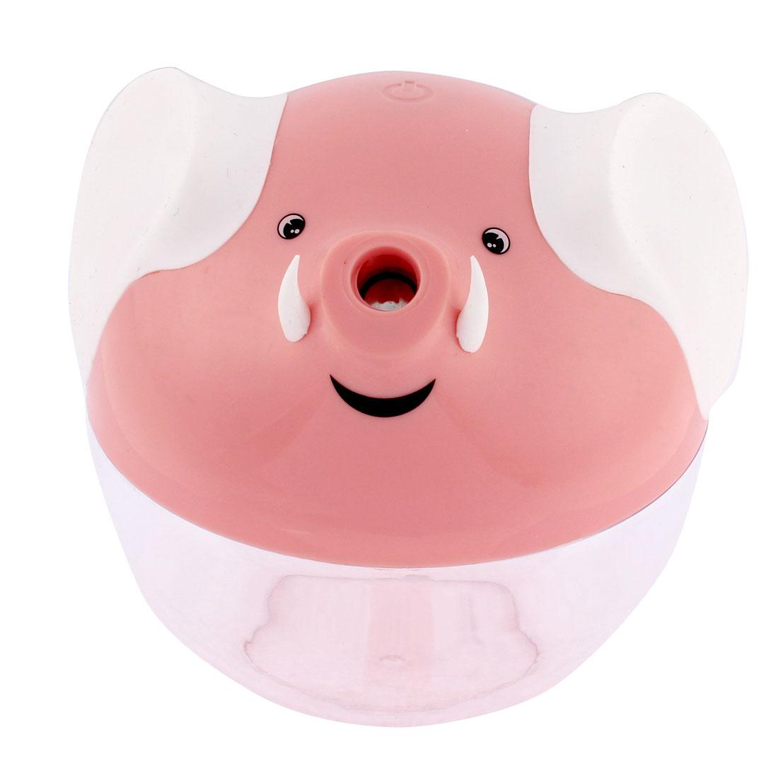 LED Mood Lights Lucky Elephant Shape Mist Air Humidifier Pink w 1M USB Line