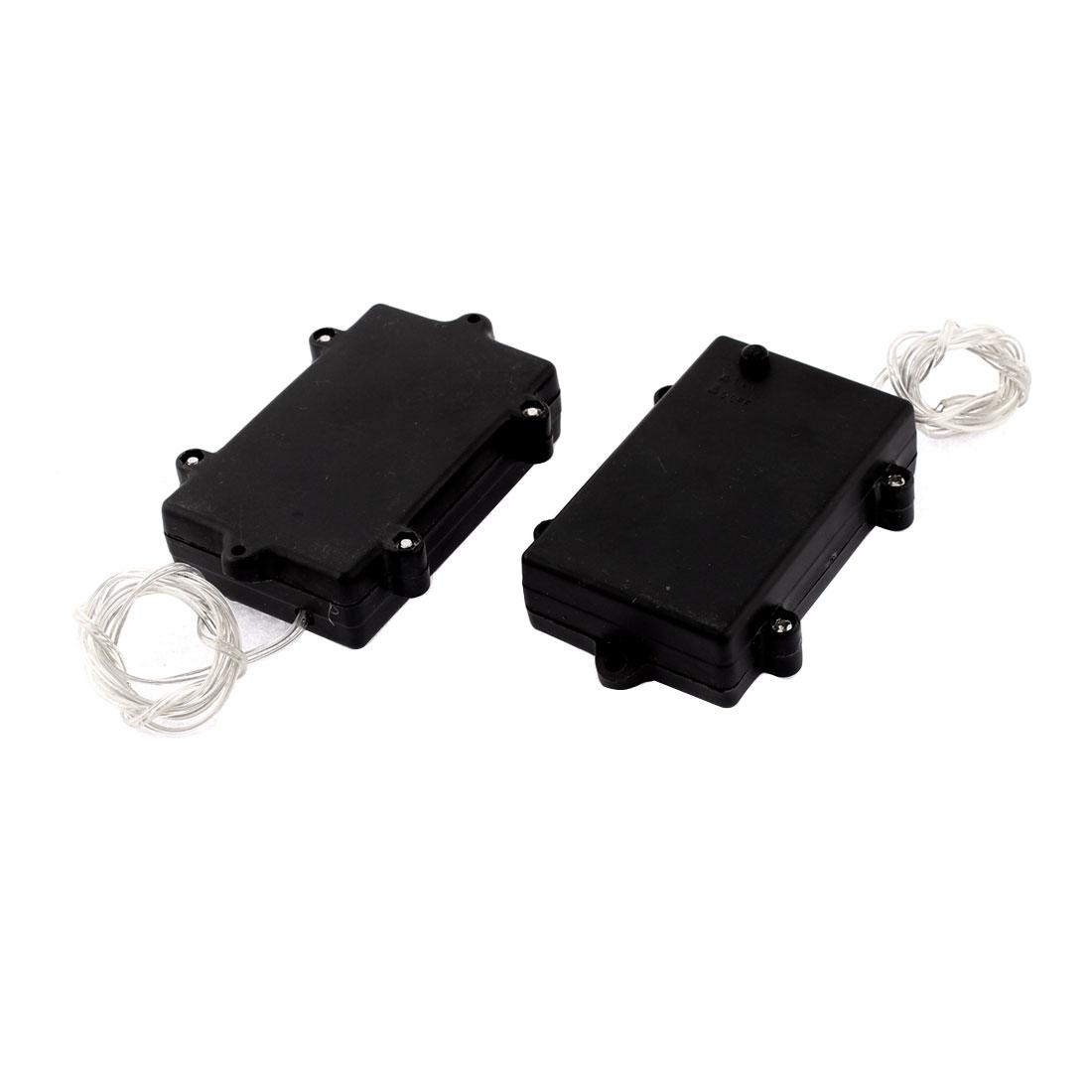 2Pcs 3 x AA Battery Plastic Storage Box Holder Case w Switch