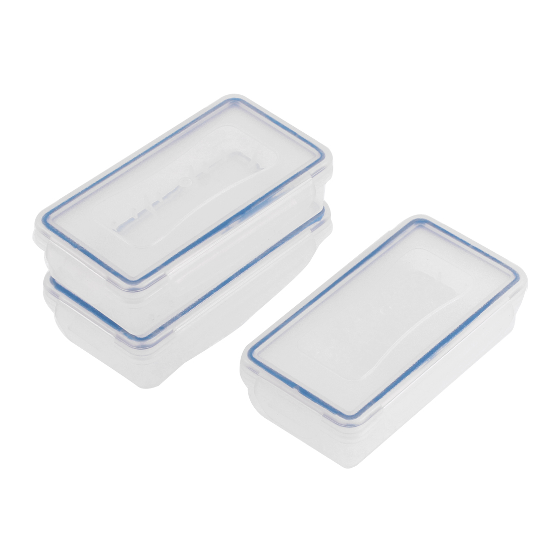 Plastic Rectangle Shape 18650 Battery Protective Case Box Clear Blue 3Pcs
