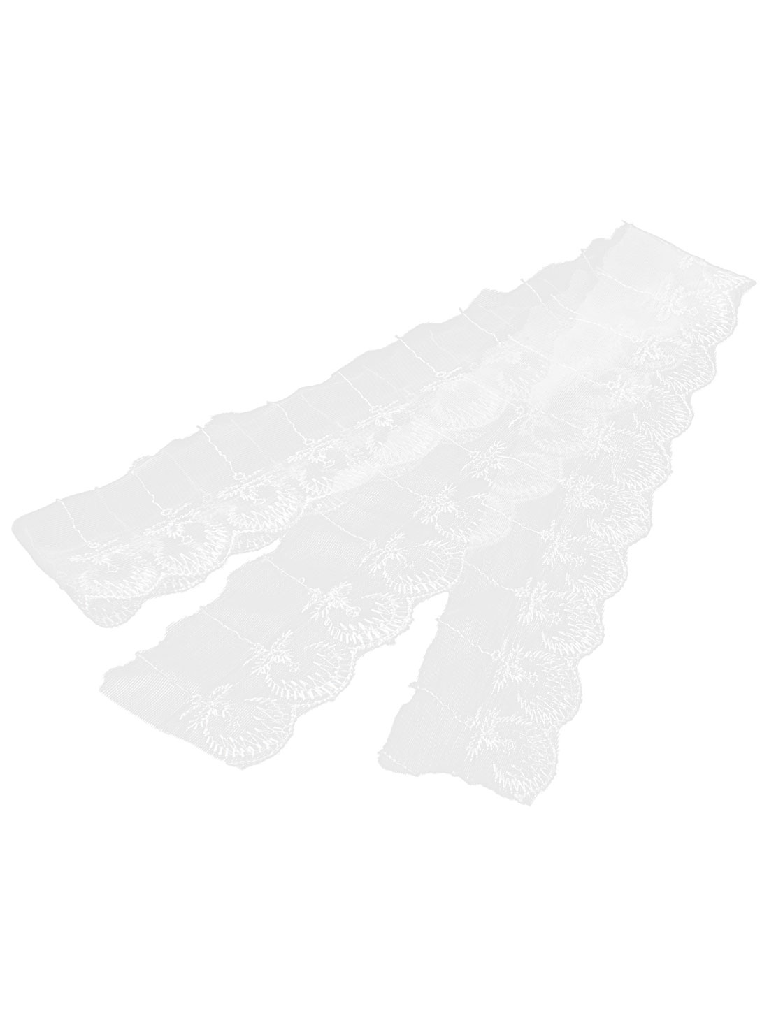 Wedding Craft Embroidered Net Lace Trim Ribbon White 1M Length 6cm Width