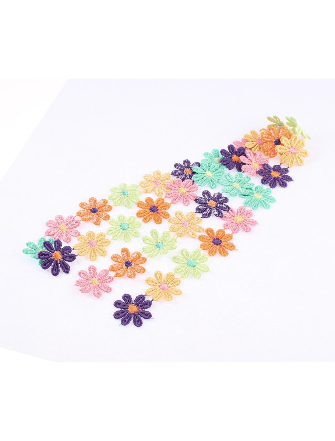Polyester Plum Flower Lace Applique 2.5cm Width 1M Length