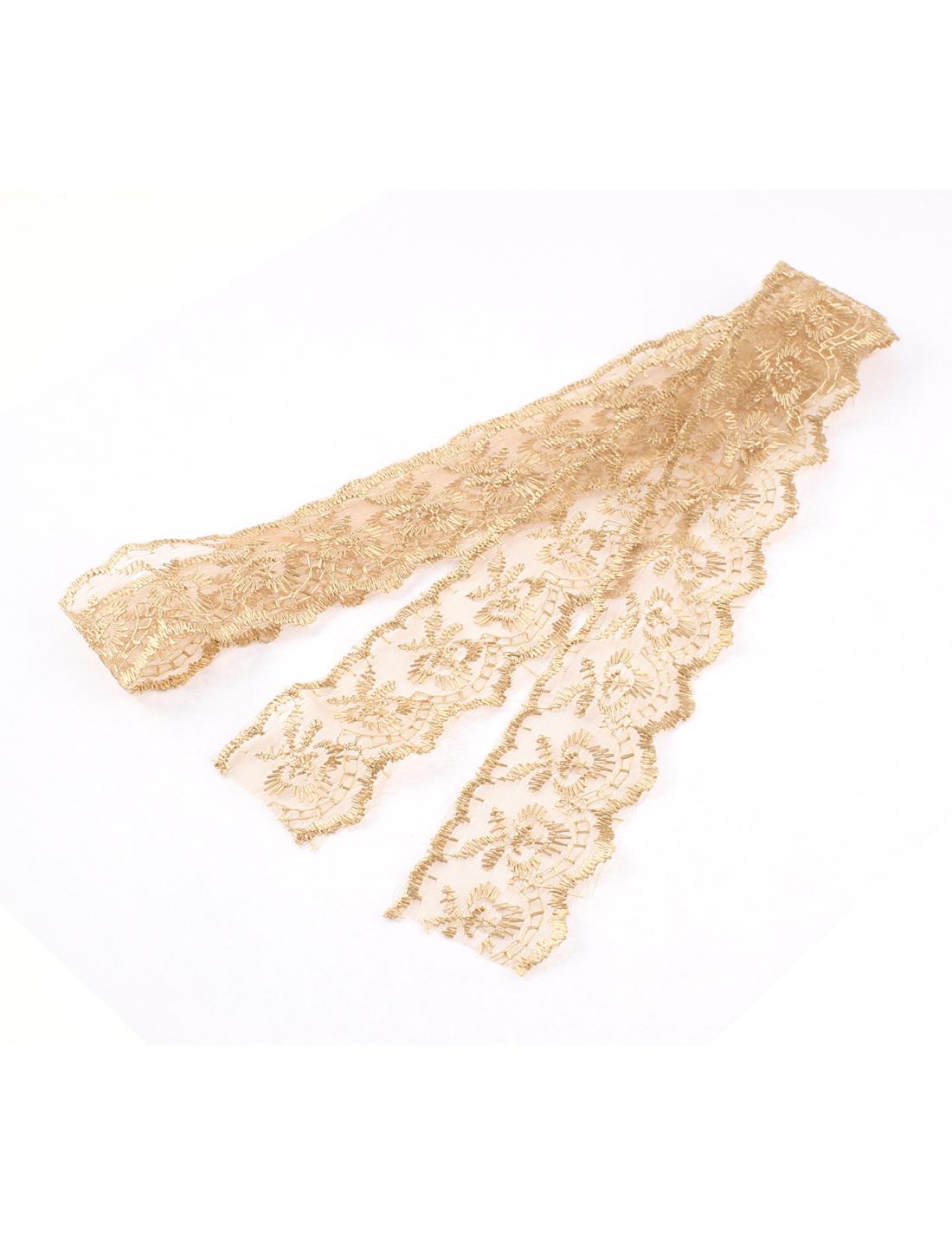 Dress Making Bridal Wedding Lace Trim Ribbon Brown 4cm Width 1M Long