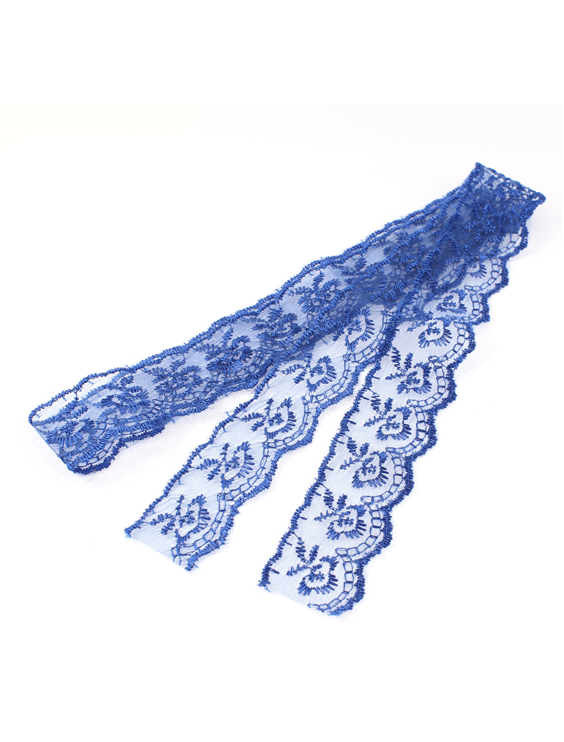 Bridal Dress Headwear Veil Lace Trim Ribbon Blue 4cm Width 1M 3.3Ft Long
