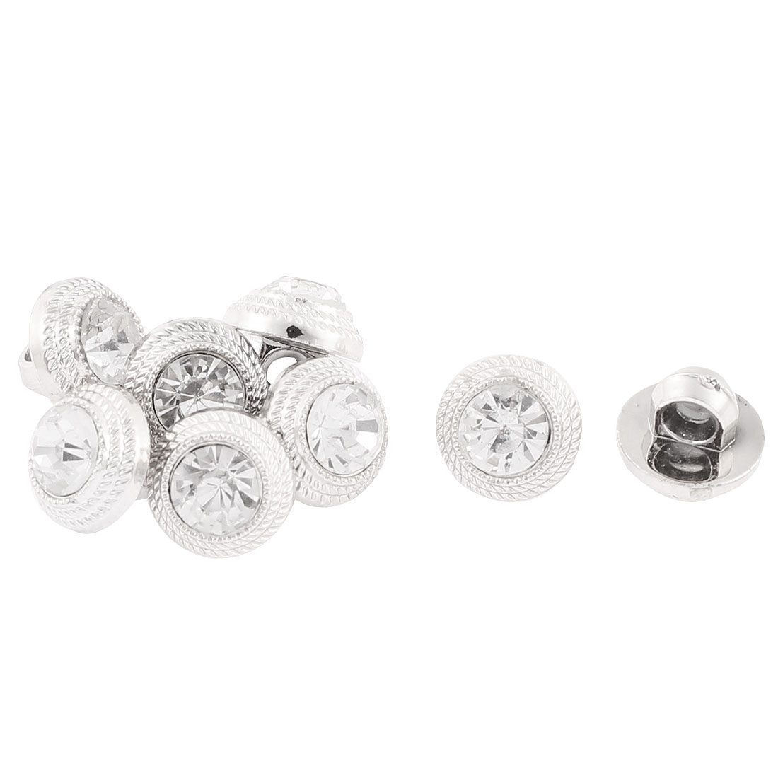 Crystal Clear Rhinestone Sewing Buttons 10mm Dia 8Pcs for Clothes Craft