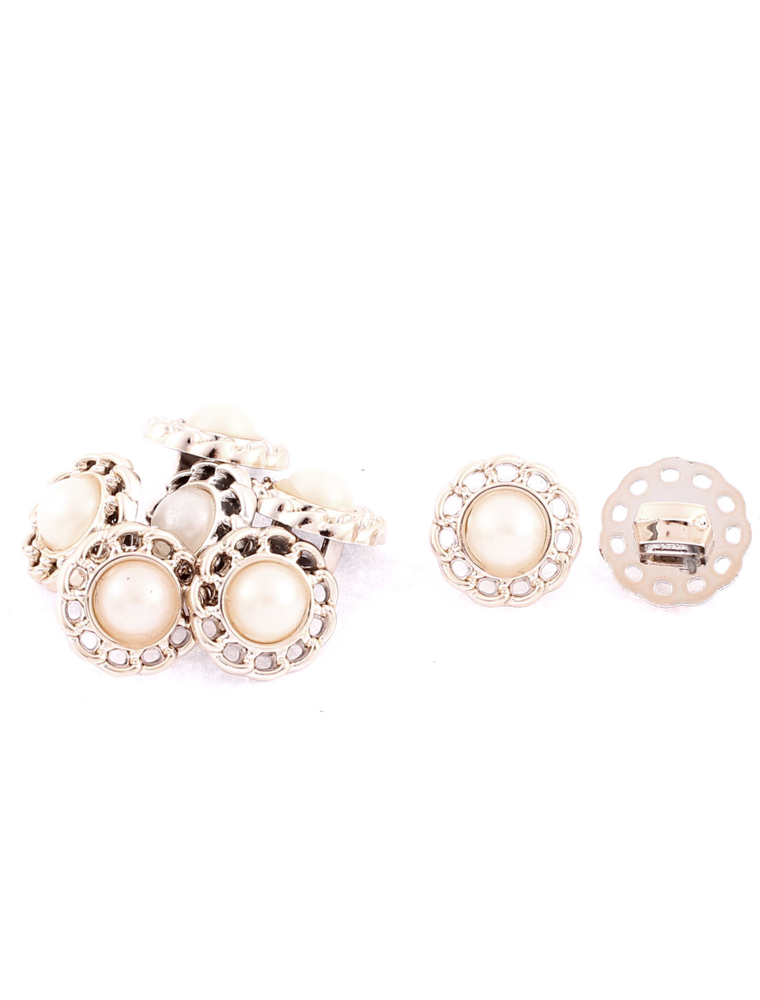 Pearl Inlaid Openwork Design Sewing Coat Clothes Buttons 8Pcs
