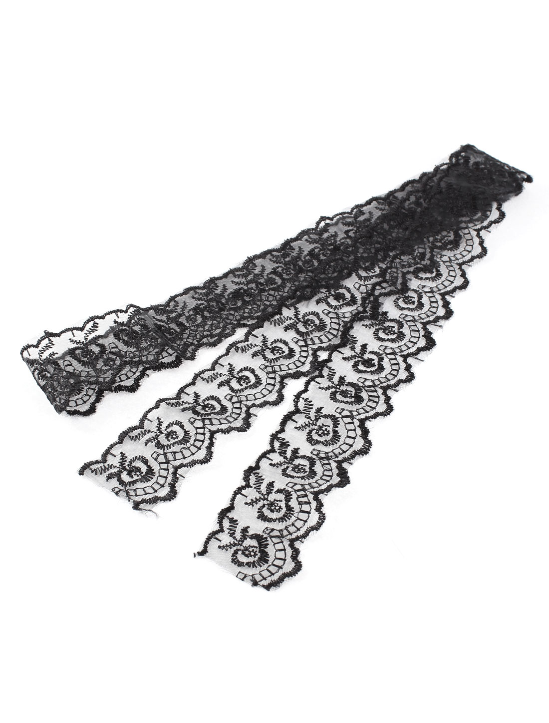Wedding Dress Headwear Veil Floral Pattern Lace Trim Ribbon Black 4.5cm x 1M
