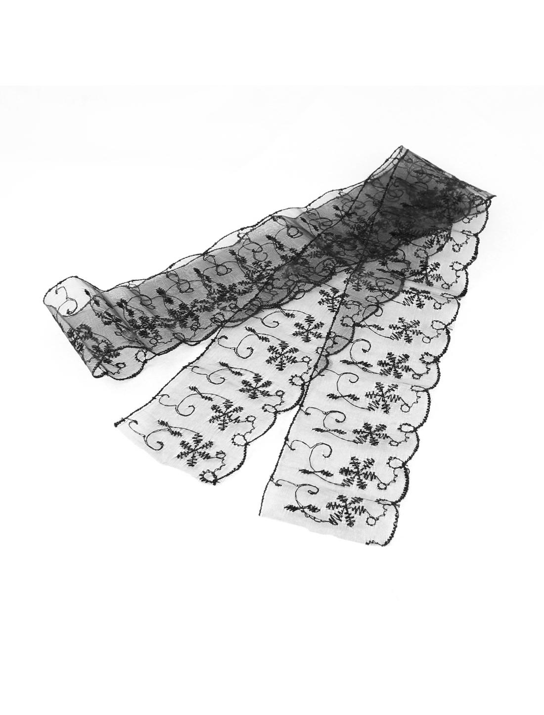 Bridal Wedding Dress Making Crafts Lace Trim Ribbon Black 6.5cm Width 1M Length