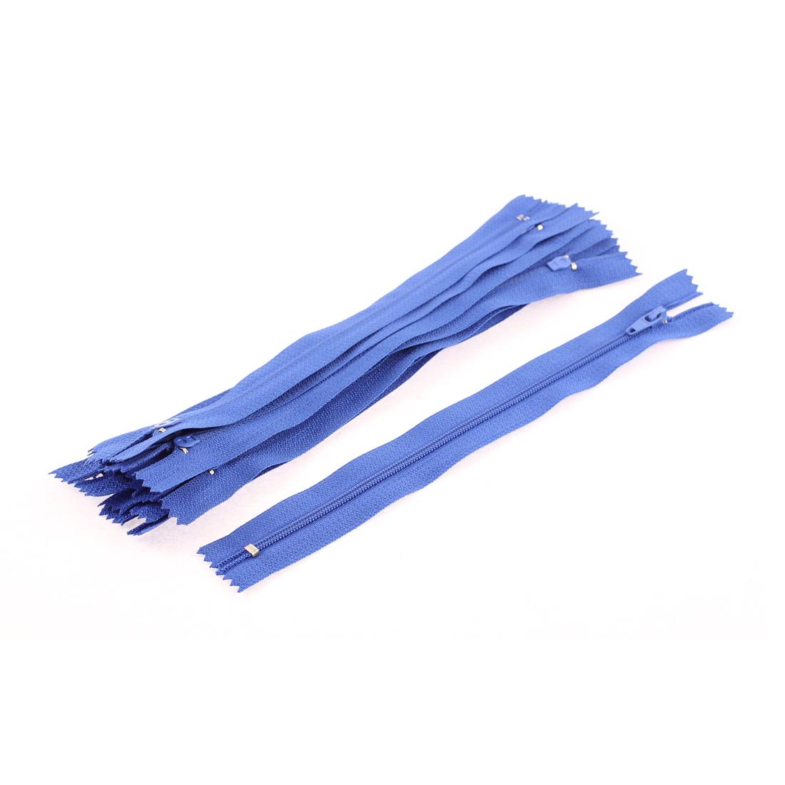 Clothes Sewing Craft Slide Puller Zipper Blue 23cm Length 2.5cm Width 10Pcs