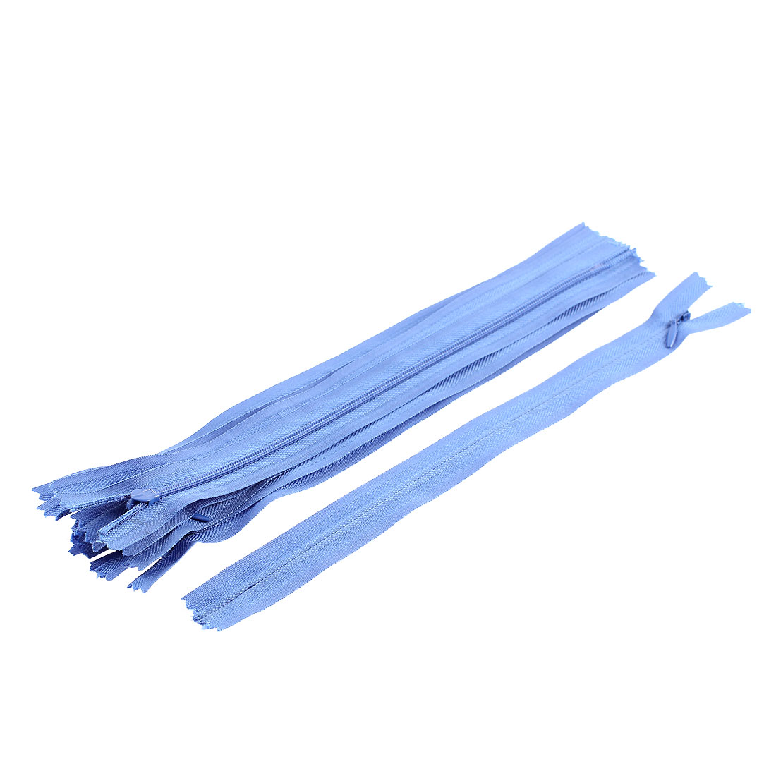 25cm Zip Length Oval Puller Invisible Zipper Blue 10Pcs