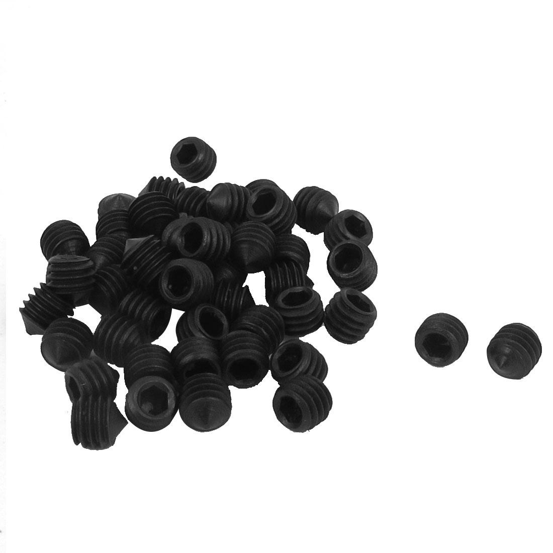 M6x6mm 1mm Pitch 12.9 Alloy Steel Hex Socket Set Cone Point Grub Screws 50pcs