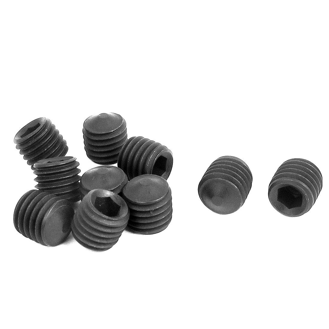 M12x12mm 1.75mm Pitch 12.9 Alloy Steel Hex Socket Set Cone Point Grub Screws 10pcs