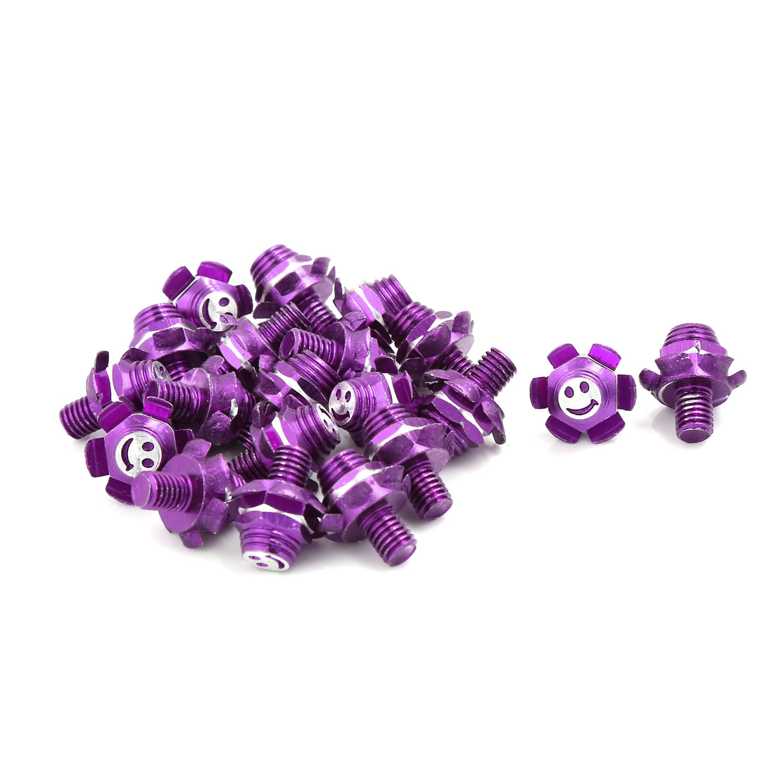20 Pcs Purple Flower Design License Plate Bolts Screw 7mm Thread Dia for Car