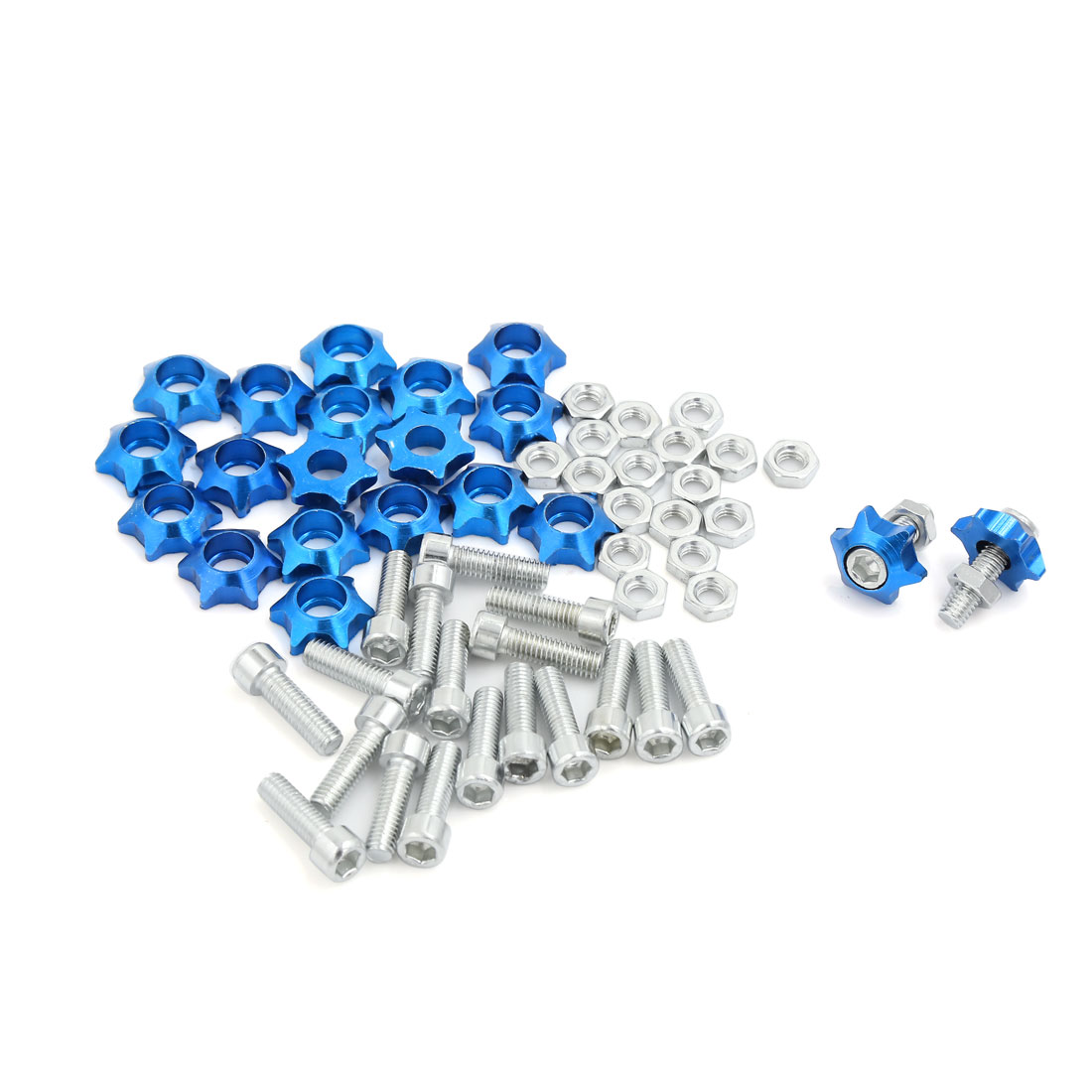 Blue Star Style Car License Plate Frme Decorative Screws Nuts 25mm x 6mm 20 Pcs
