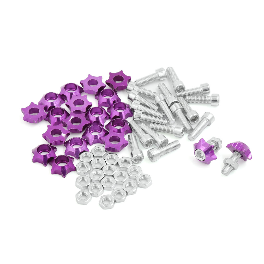 20 Pcs Purple Star Shape Car License Plate Frame Screw Decoration 25mm Long