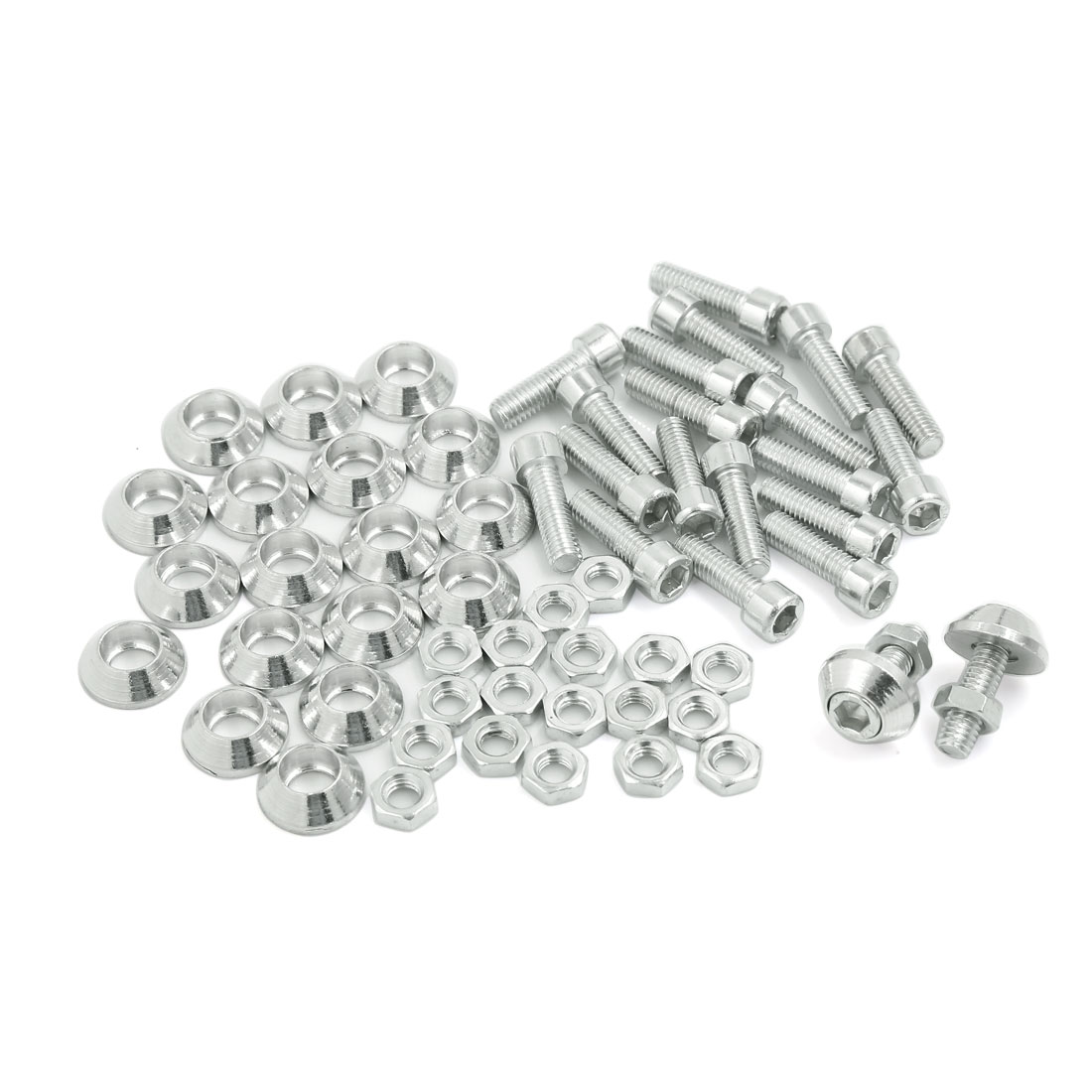 6mm Dia Motorcycle Car License Plate Frame Screw Bolt Decor Sliver Tone 20 Pcs