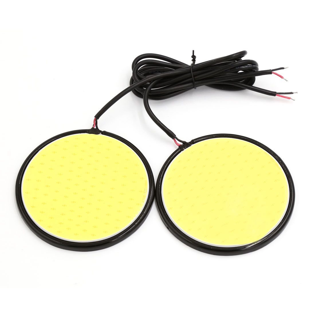 2 Pcs 8cm Dia White COB LED Round DRL Daytime Running Light Lamp for Car Auto