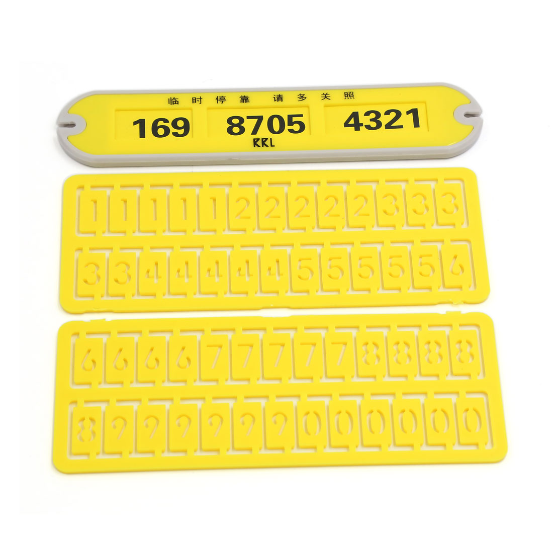 Auto Car Plastic Parking Notification Sign Puzzle Phone Number Plate Yellow