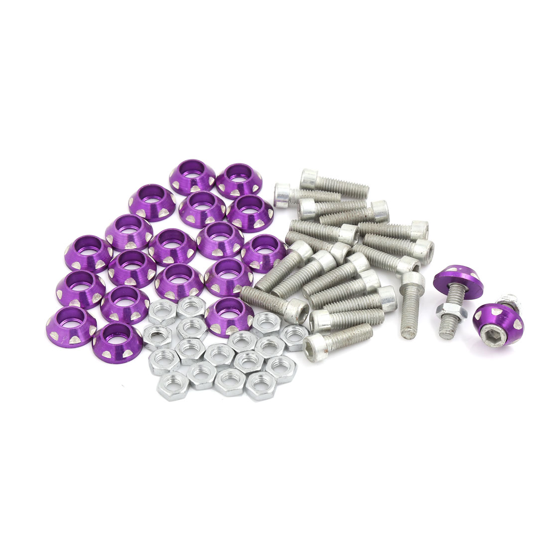 20 Pcs 25mm Long Cone Head Cap License Plate Bolts Screw Purple for Car Vehicle