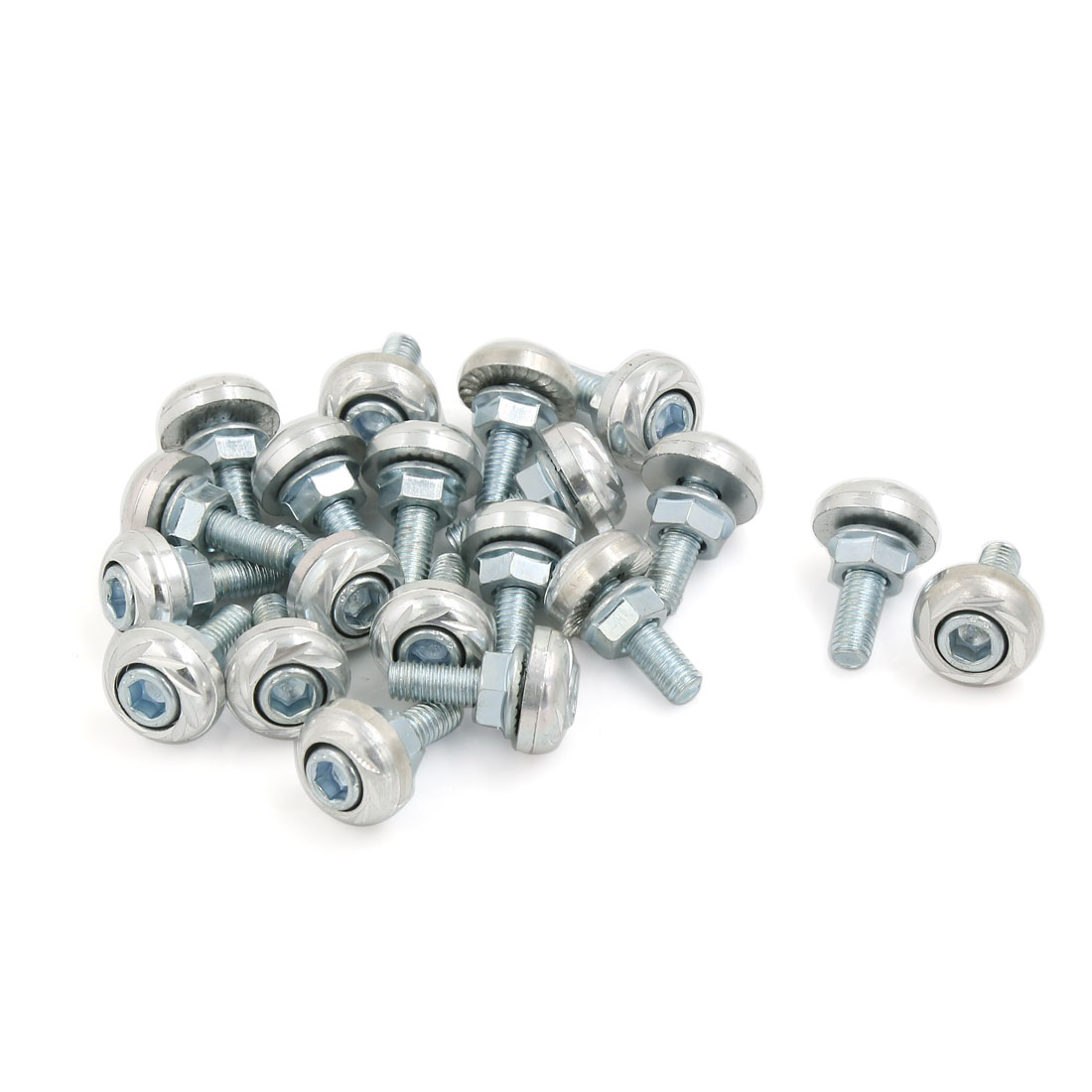 20 Pcs Sliver Tone Car Vehicle License Number Plate Bolts Screws 25mm Length