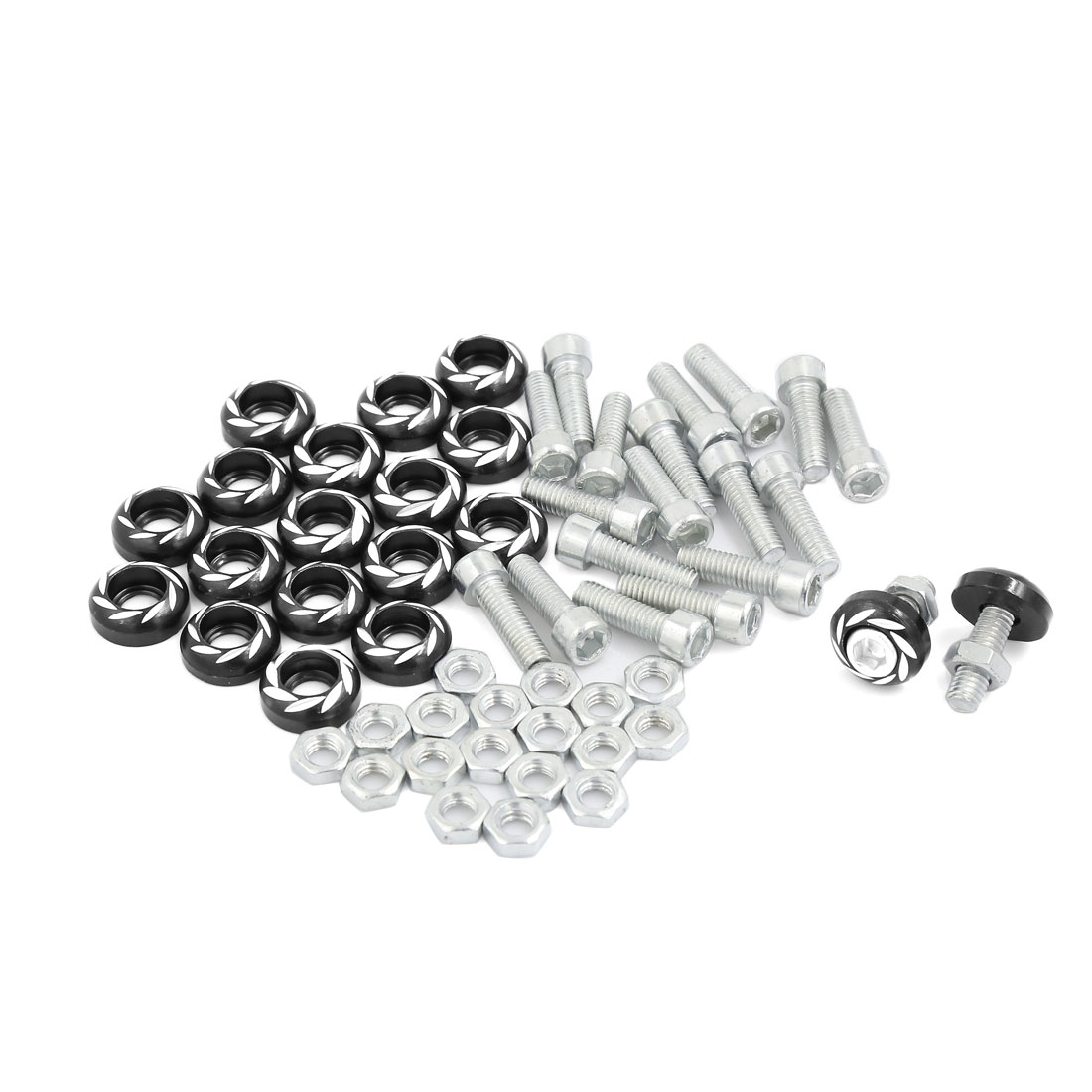 Car Flower Pattern Round License Plate Frame Decorative Screw 6mm Dia 20pcs