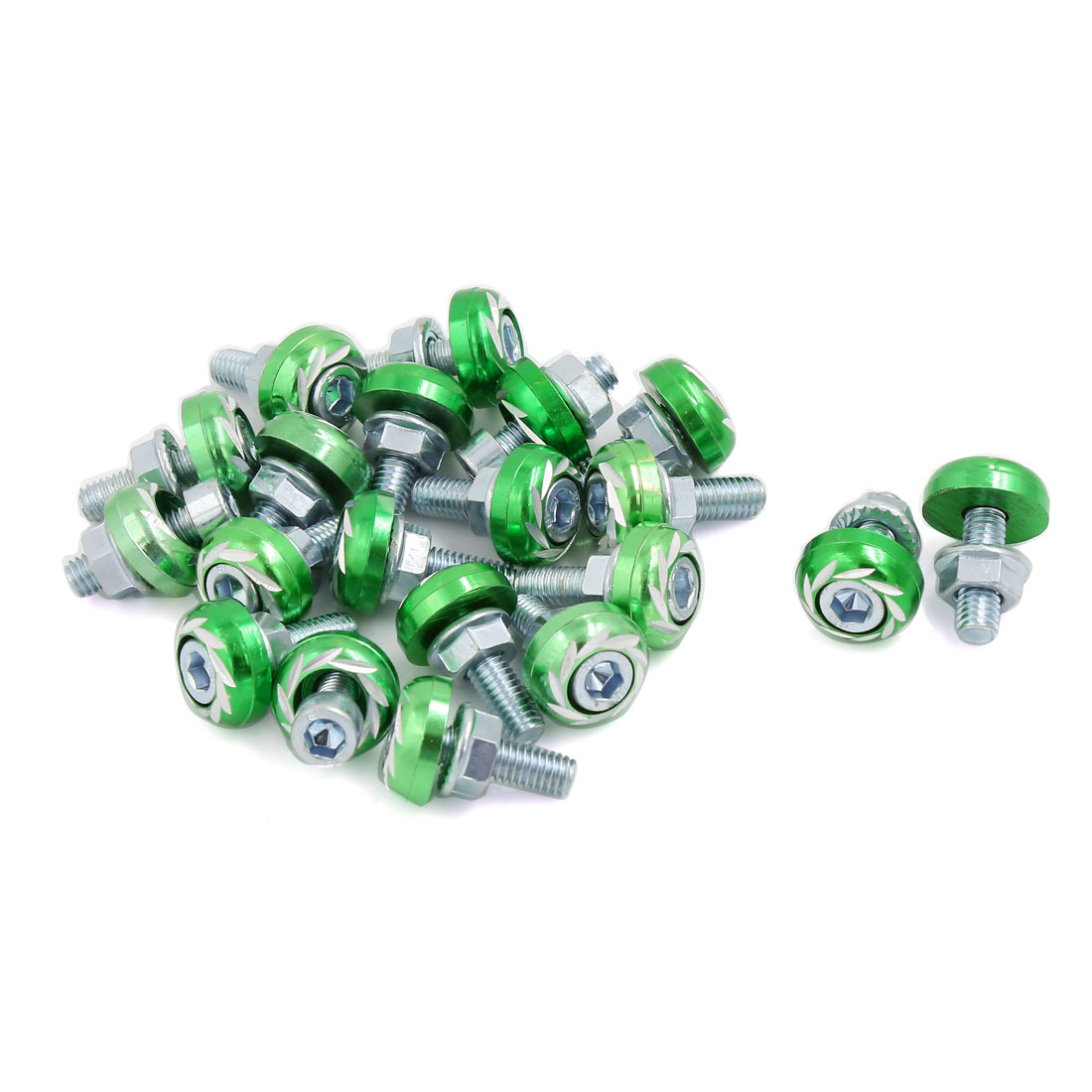 6mm Thread Dia Flower Print Car Vehicle License Plate Frme Bolt Screw 20 PCS