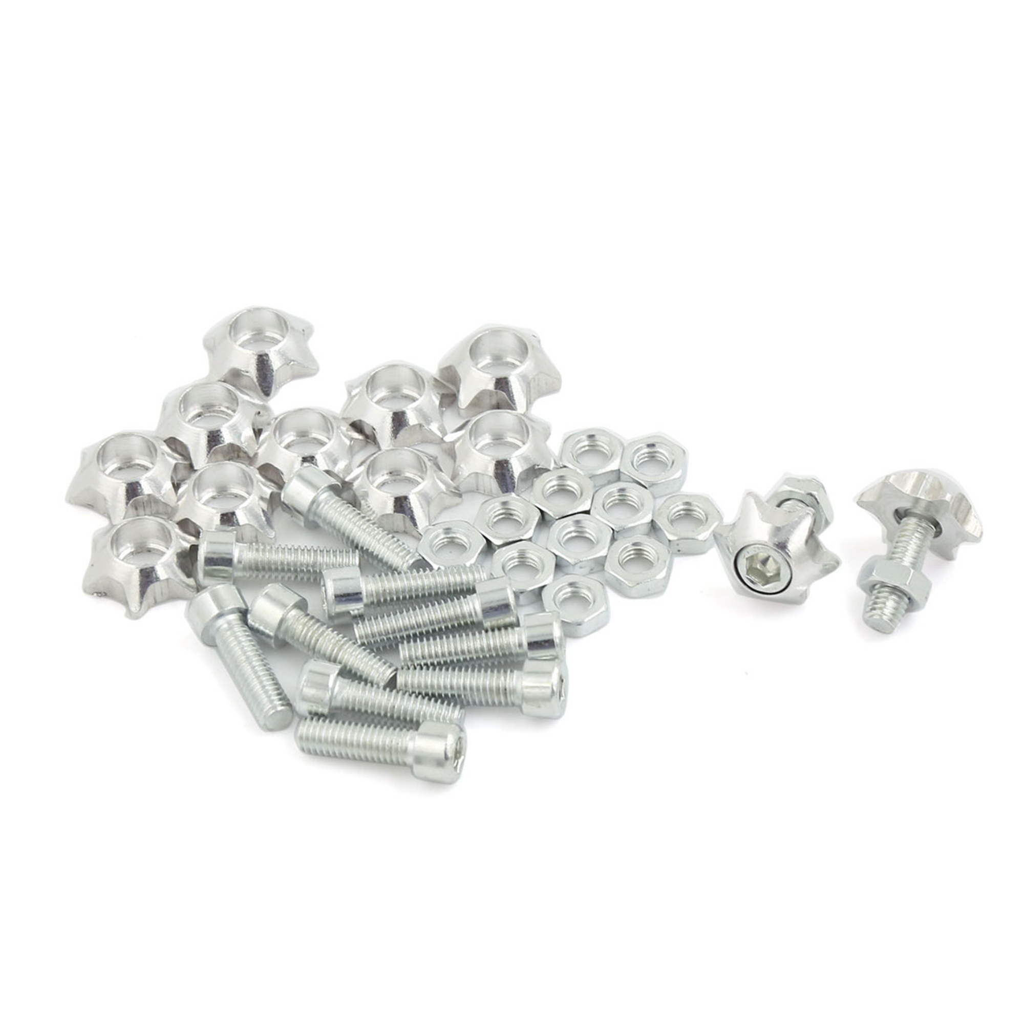 12 Pcs 6mm Dia Star Shape Cap Car License Number Plate Bolts Screw Sliver Tone